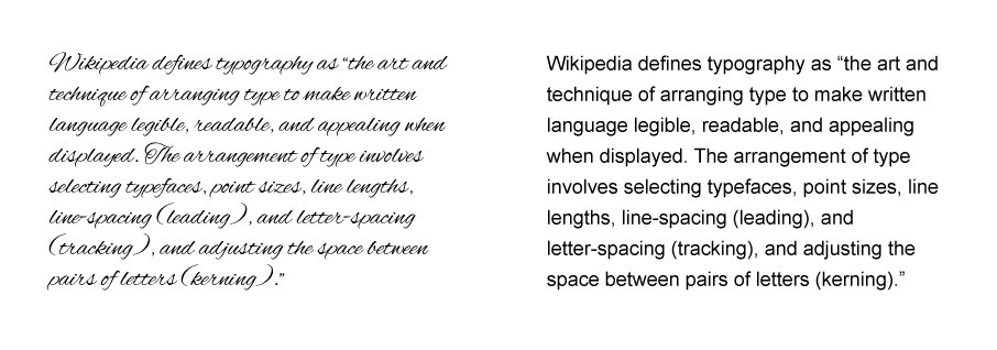 Wikipedia's definition of typography display in a less legible script font vs a san serif font