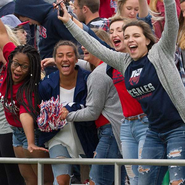 DeSales students cheering at an event