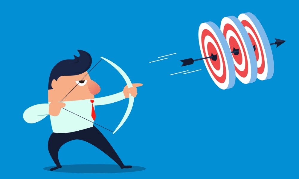 Illustration shows man firing an arrow at multiple targets