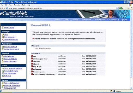 Dated patient portal