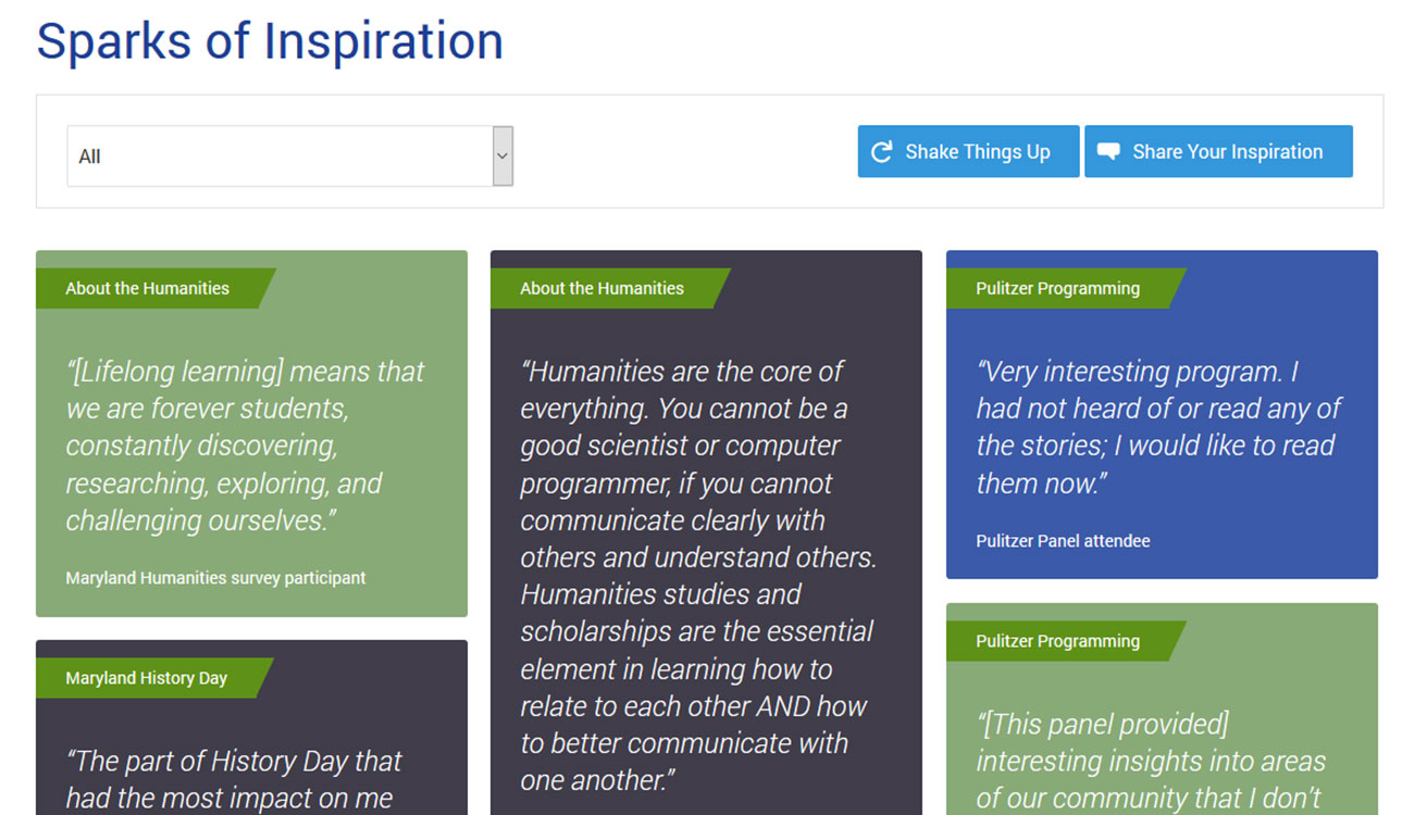 Example interactive tool featuring inspirational quotes