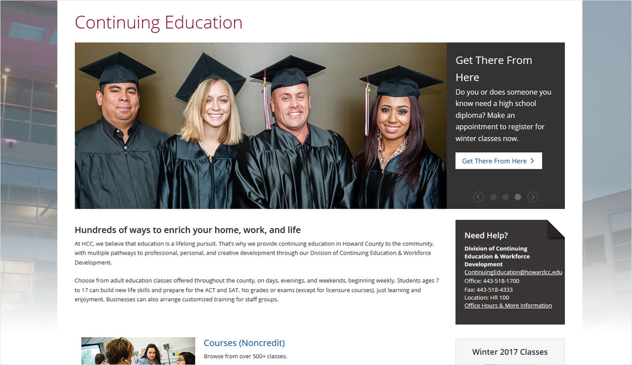 Example of webpage for Continuing Education