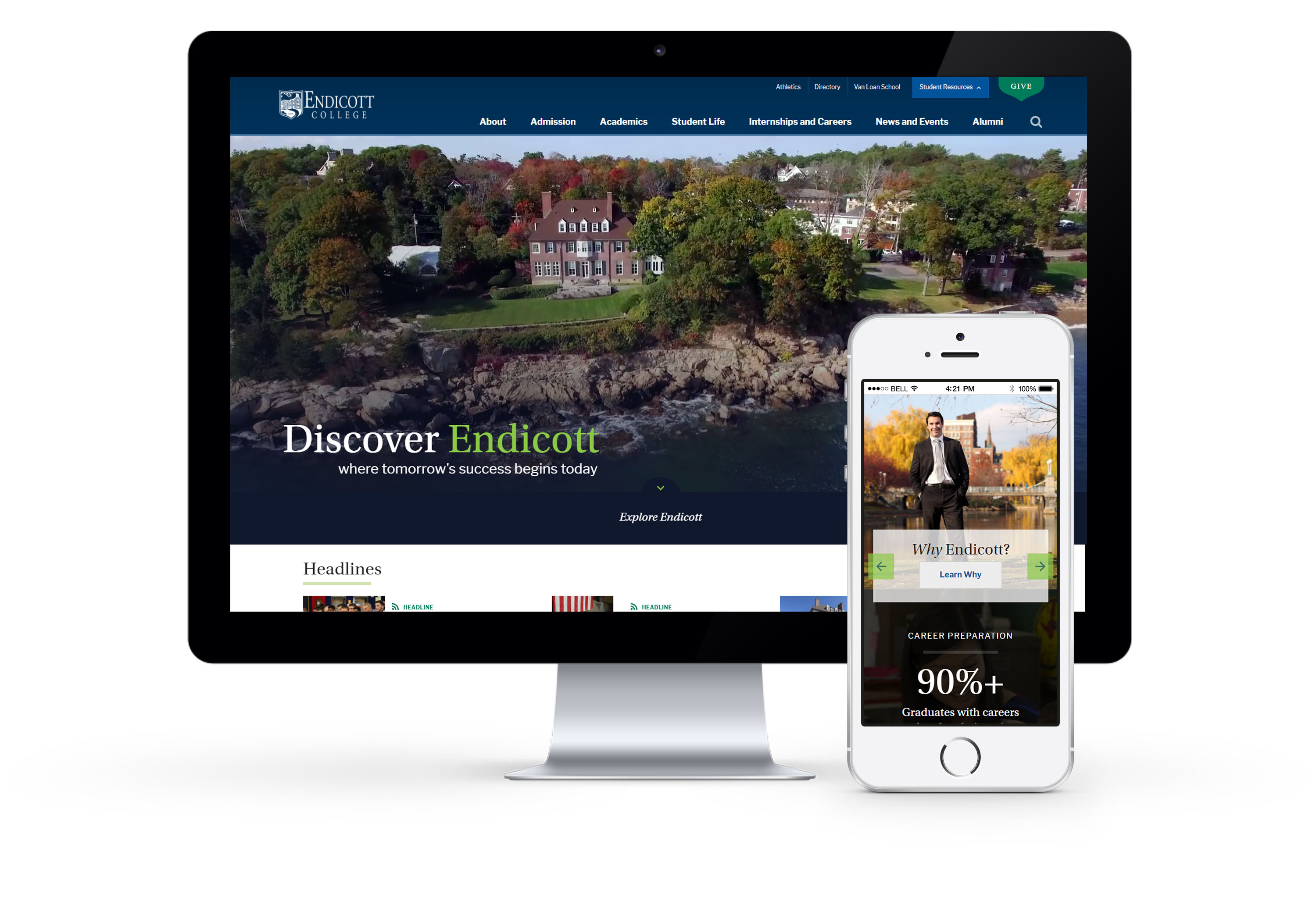 desktop and mobile view of endicott website design