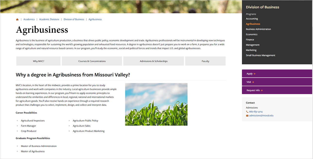 Agribusiness program page