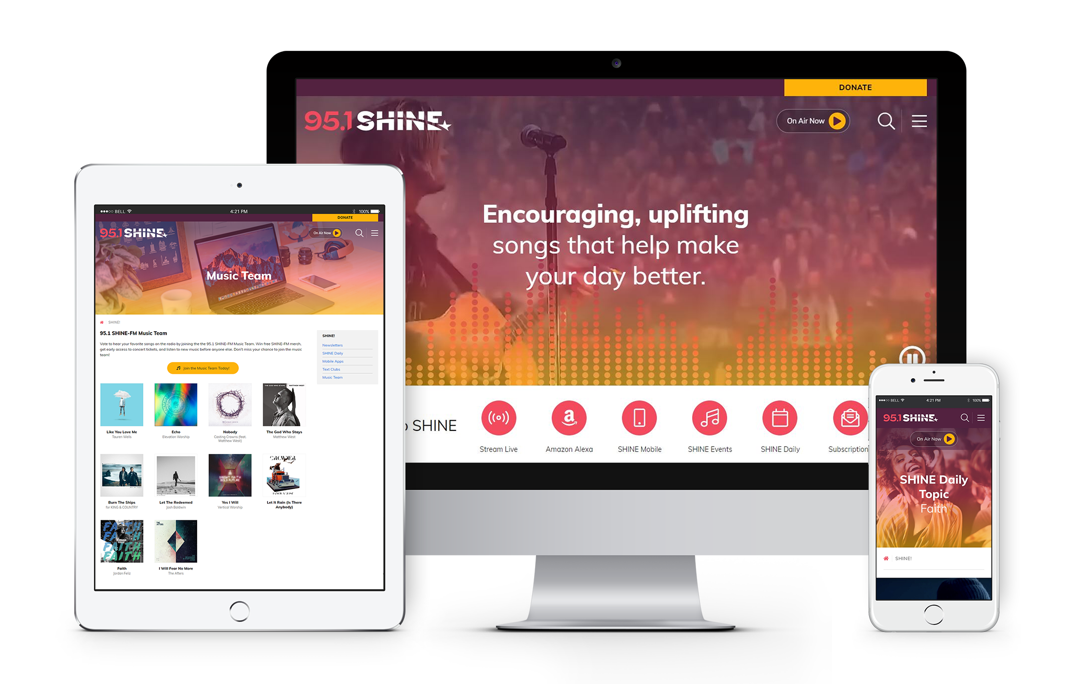 Different screen views of the SHINE FM website displayed on desktop, tablet, and mobile