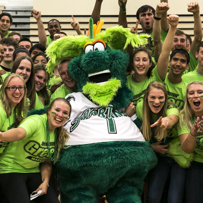 Students with green monster mascot