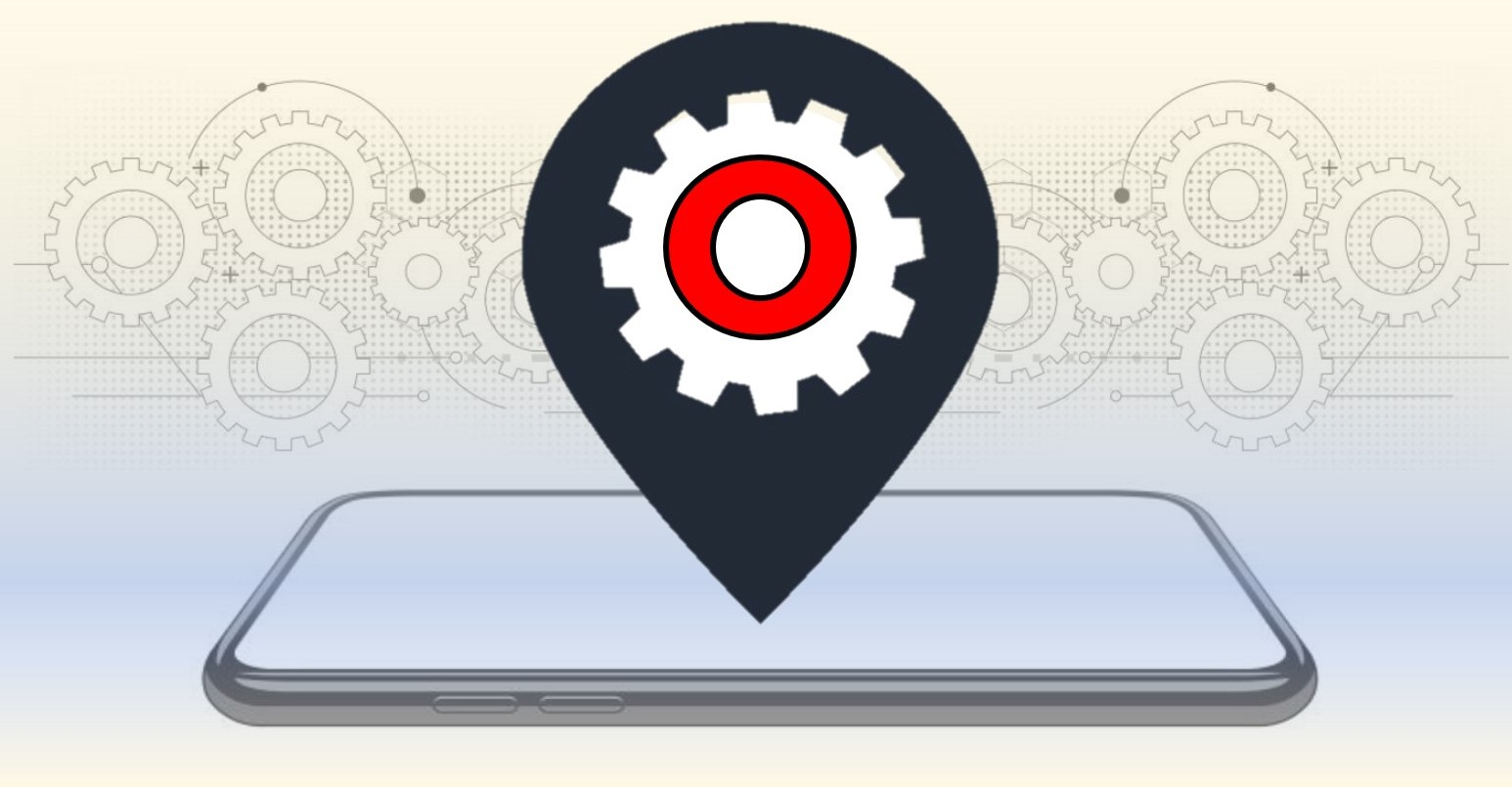 Illustrated mobile phone with a map point icon popping off the screen with working gears in the background