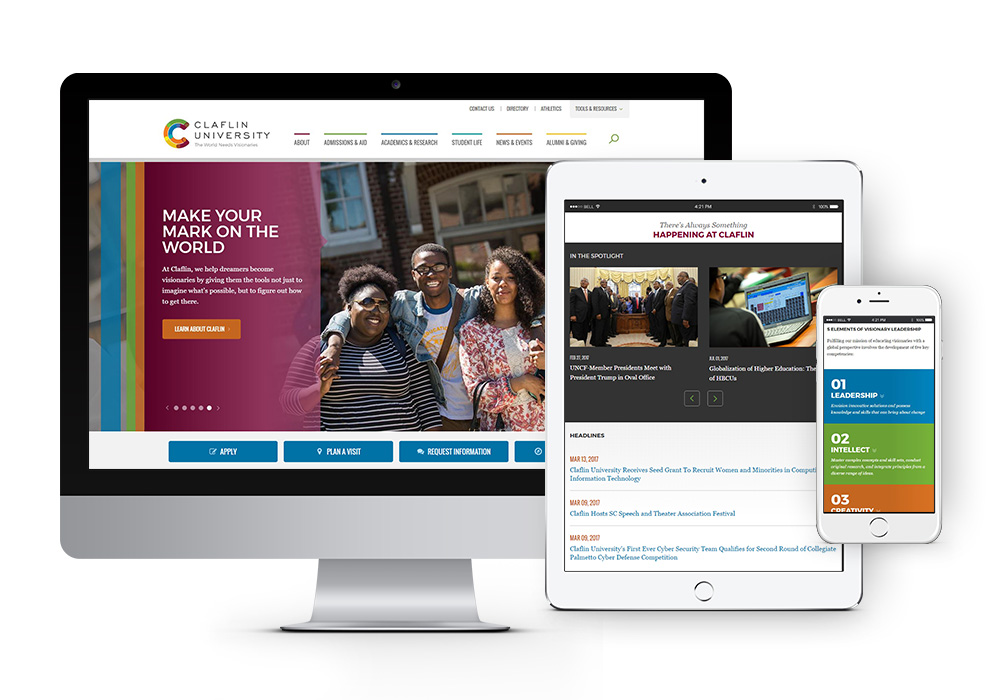 responsive view of new claflin website