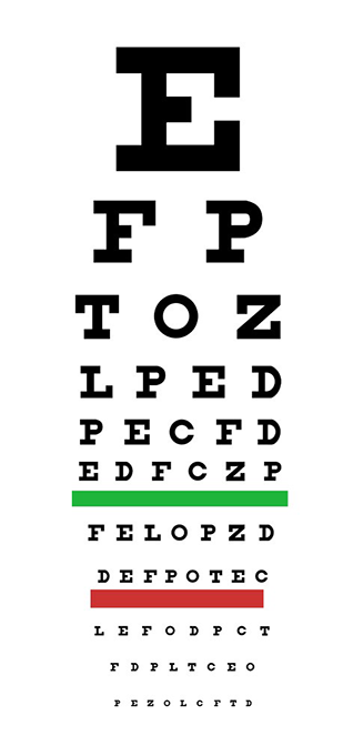 graphic of an optometrist's eye test chart