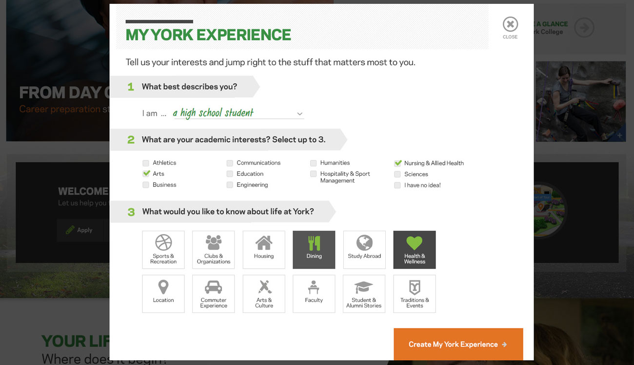 Example of interactive quiz, My York Experience