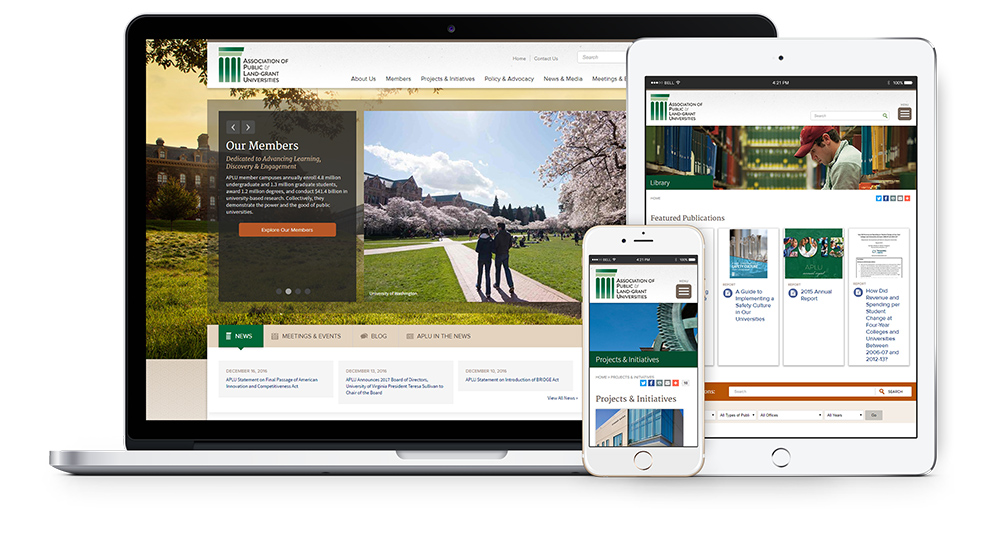 APLU website on desktop, tablet and mobile