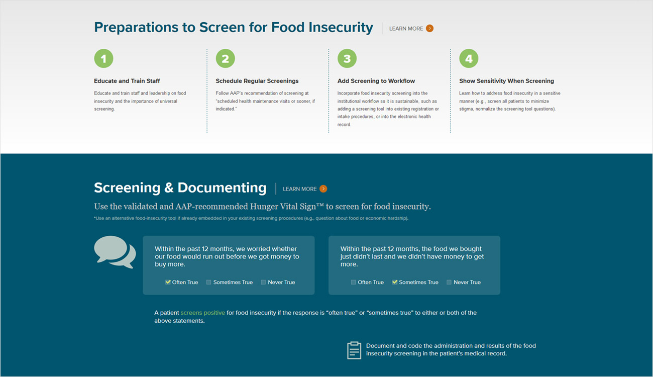 Example - Screening for Food Insecurity steps