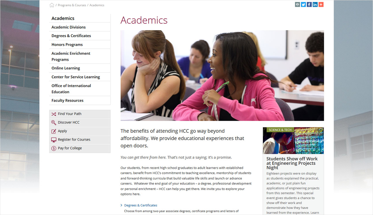 Example webpage for Academics