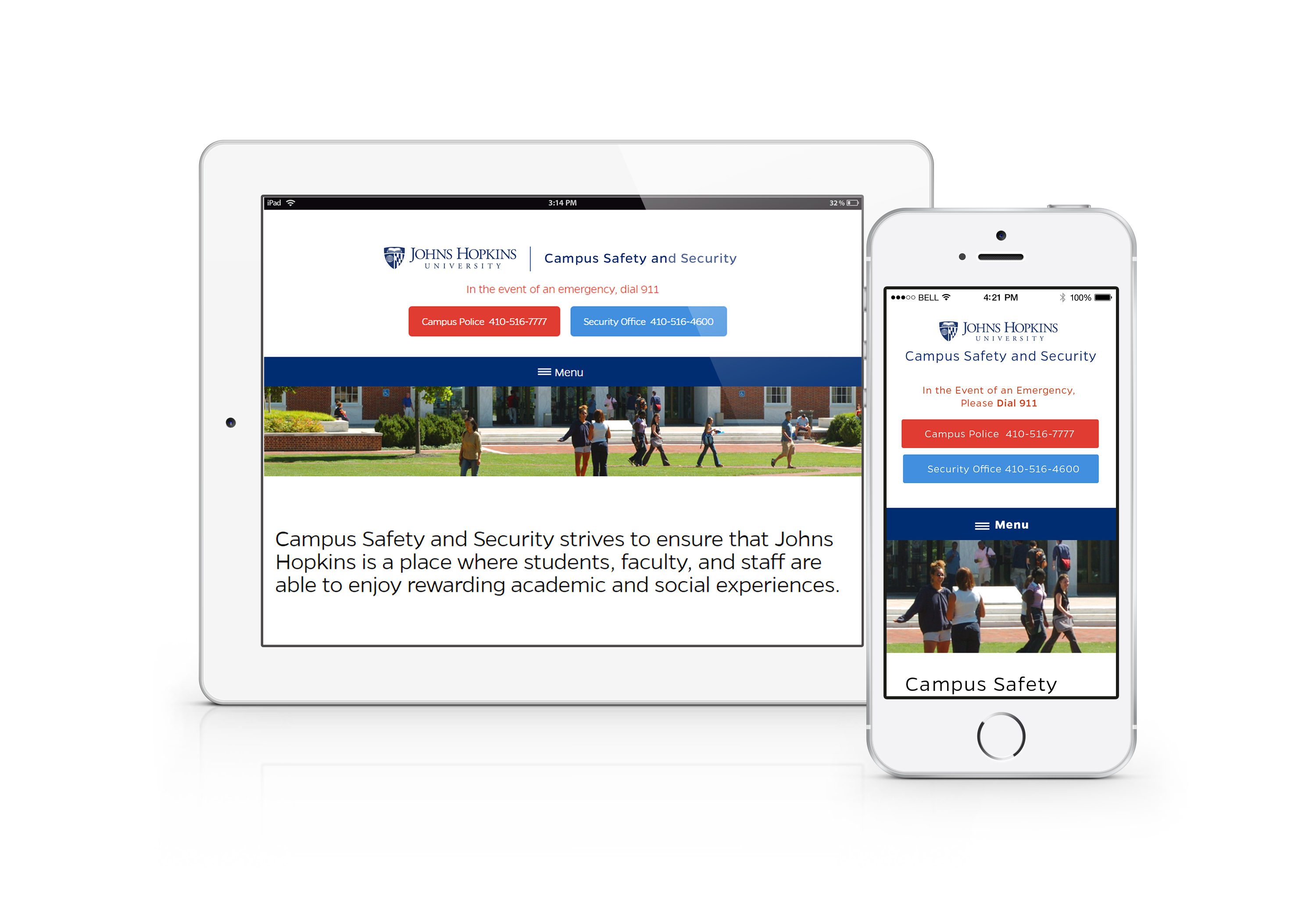 JHU Campus Safety and Security website on desktop and mobile