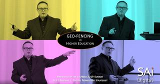 Montage of photos showing Ed Neenan delivering a Geo-fencing presentation at eduWeb 2019