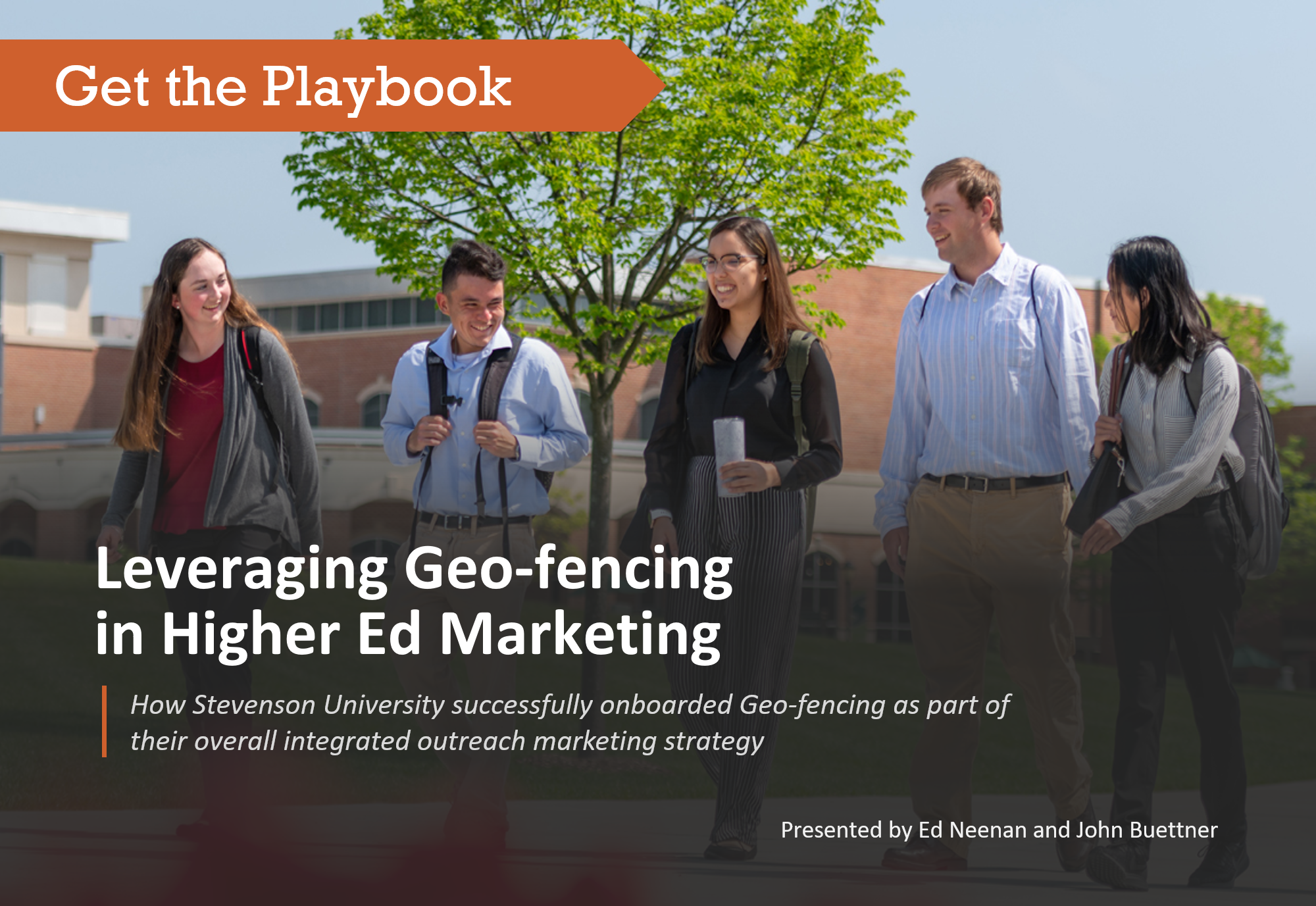 undergraduates walking along Stevenson University campus with superimposed messaging about the SAI Digital geo-fencing presentation delivered at eduWeb 2019