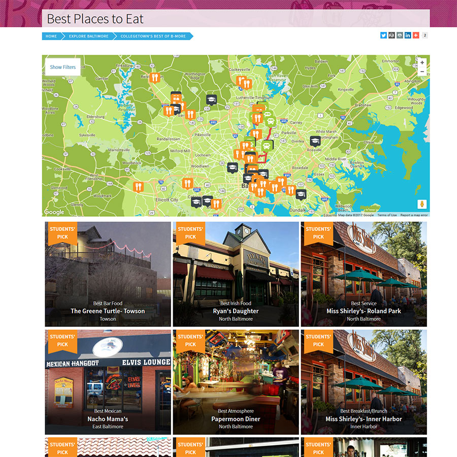Example webpage showing map of restaurants